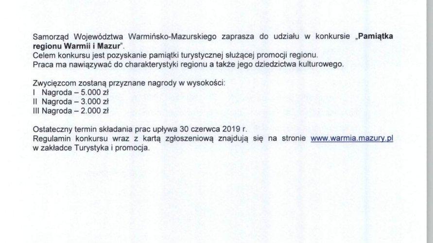 """Konkurs """"Pamiątka regionu Warmii i Mazur"""""""